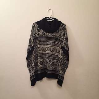 Size 14 Black And White Poncho