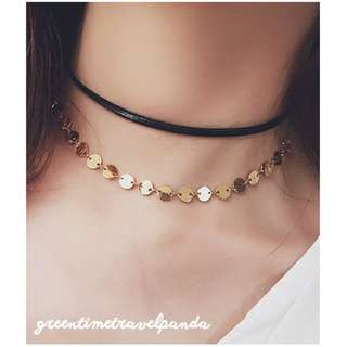 Choker - Black Leather and Gold