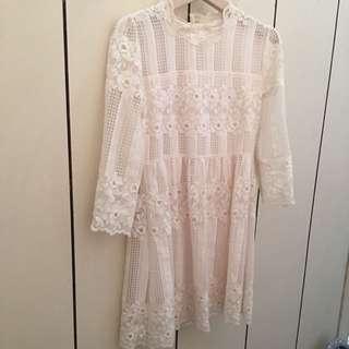 正韓 Coco Rea 購入 白色蕾絲洋裝