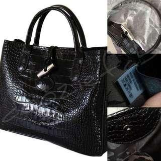 Sale Authentic Longchamp Croco Roseau Black Tote Bag