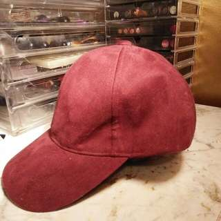 Red Faux Suede Hat
