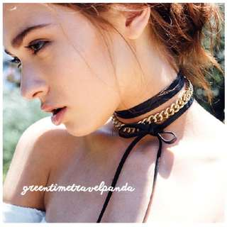 Choker - 3- Layered with Gold Chain