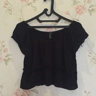 F21 Black Off Shoulder Top