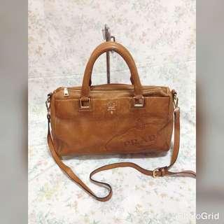Prada Milano Leather Two Way Handbag