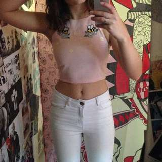 Handsewn Pink Embroidered Crop (Size 8-10)