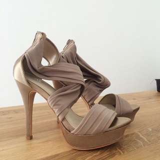 Strapped Champagne Heels (Brand new)