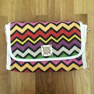 Multi Color Weaved Clutch