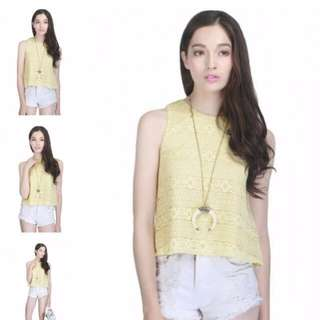 Fayth Meredith Lace Top Yellow XS