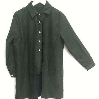 墨綠色長版假兩件襯衫