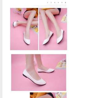 Korean Style Flats In White
