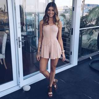 SIZE 8 Nude Open Back Playsuit