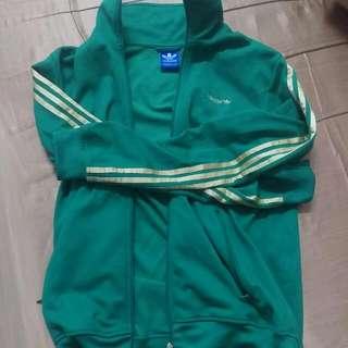 二手正品 Adidas Original 燙金綠外套 L號