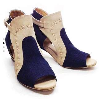 sepatu boots brown blue