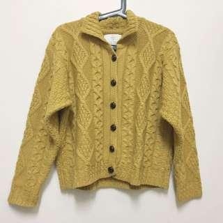 日系芥黃針織外套