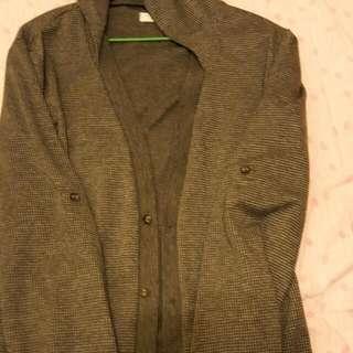 格子襯衫式小外套(有帽子)