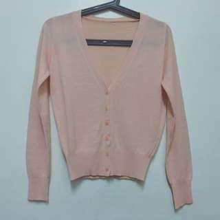 粉橘色針織外套