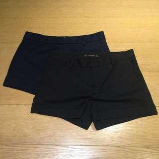[秋冬] ZARA短褲,深藍/黑色,M號