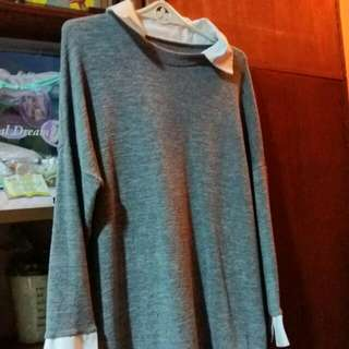 Gray Sweater With Collar And Cuffs