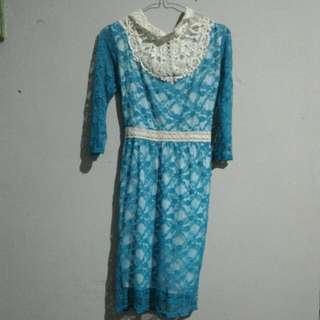 Dress Brokat Biru