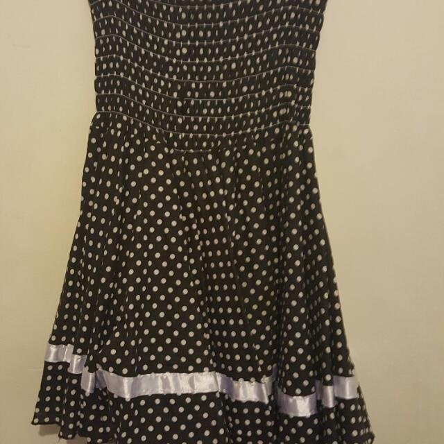 80s Style Black And White Polka-dot Dress Sizs 14