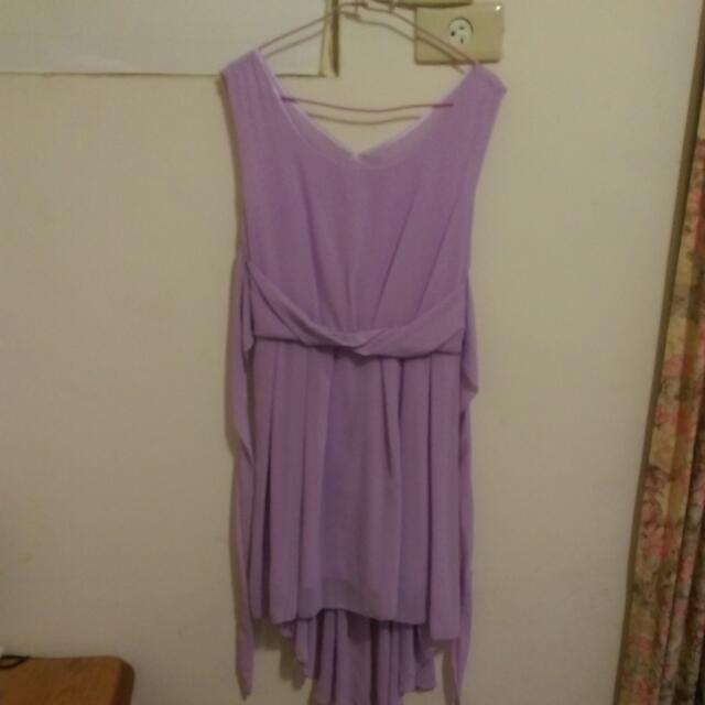 浪漫前短後長紫蘿蘭一件式雪紡洋裝