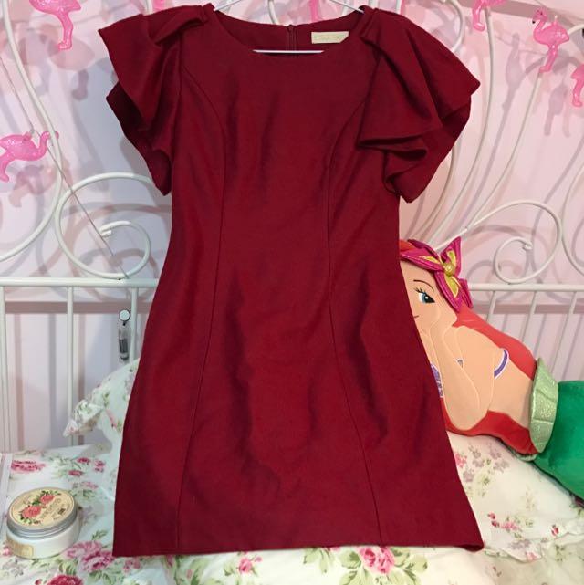 紅色毛呢洋裝