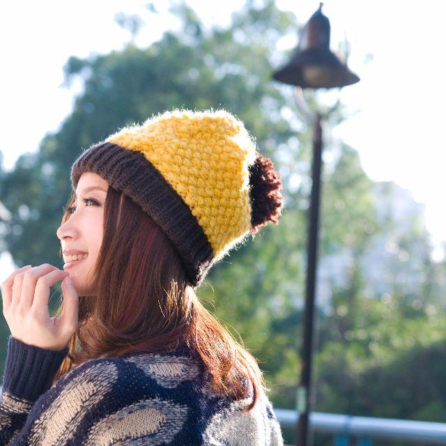 黃色可愛球球毛帽
