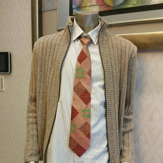完全新 上海古著復古冰絲滑緻領帶