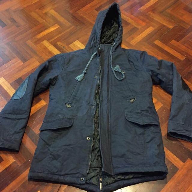鋪棉 大衣 深藍 外套