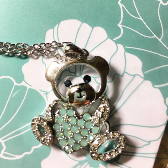 小熊 可愛 Tiffany 湖水綠 鏤空 愛心 項鍊