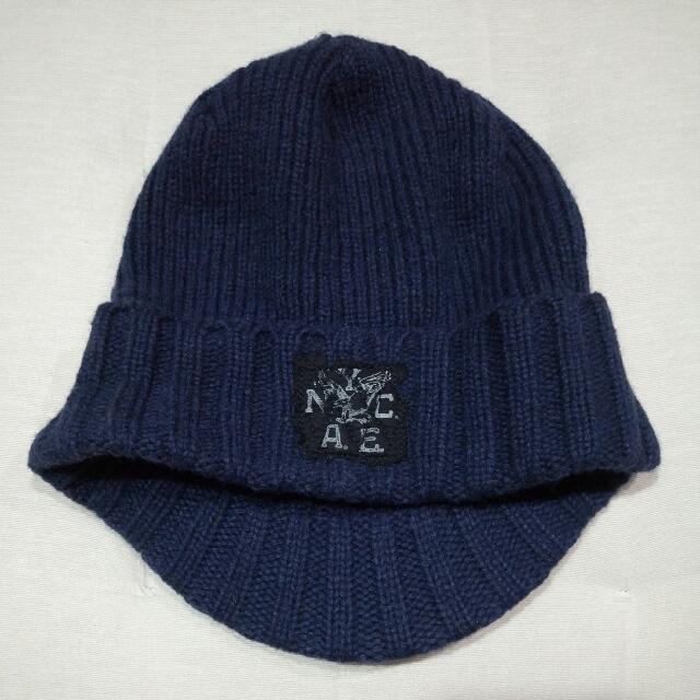 AE正反兩面可戴毛帽-深藍