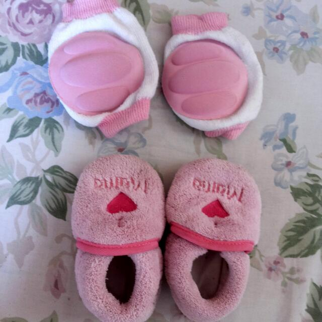 baby shoes and knee pad