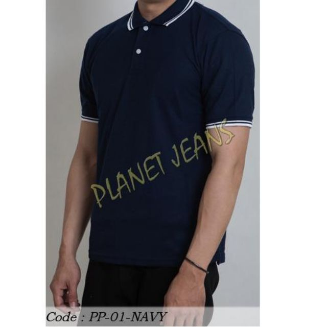 baju kaos kerah polos pria   polo shirt bahan lacoste cowok warna  hitam c1ad447a60