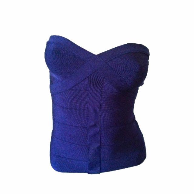 Bebe Navy Blue Bandage Bodycon Bustier Top