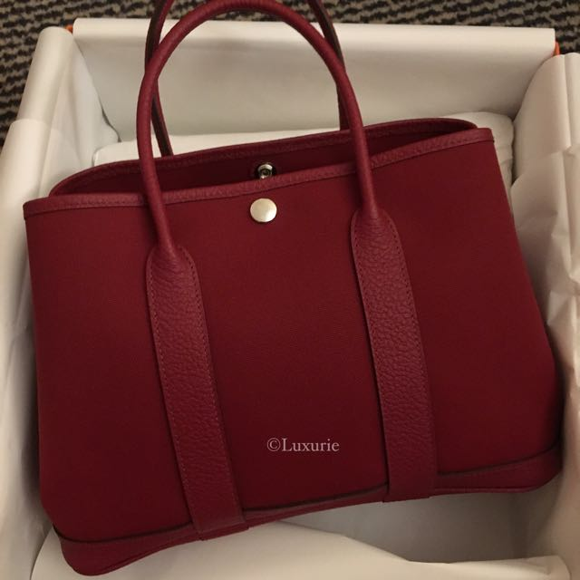 bnib hermes rouge grenat toile garden party 30 luxury bags wallets on carousell. Black Bedroom Furniture Sets. Home Design Ideas