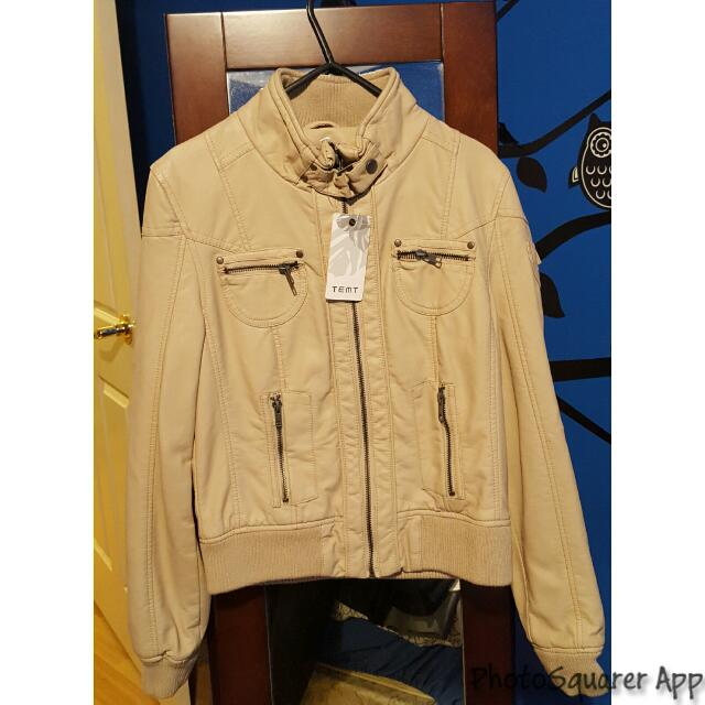 BNWT Brand New Tan/Beige Leather Jacket
