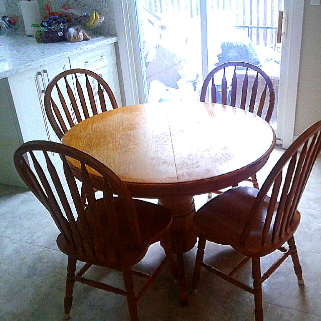 Brand New Wooden Table Set With 4 Chairs.