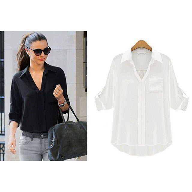 27f1f5bd193c15 Chiffon Long Sleeves Office Wear Tops Blouse - SC1220011