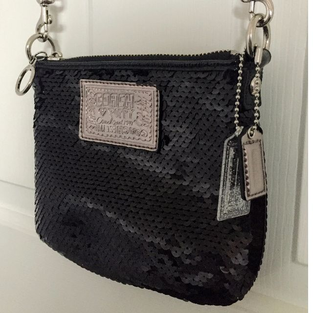 Coach Poppy Crossbody in Black Sequin