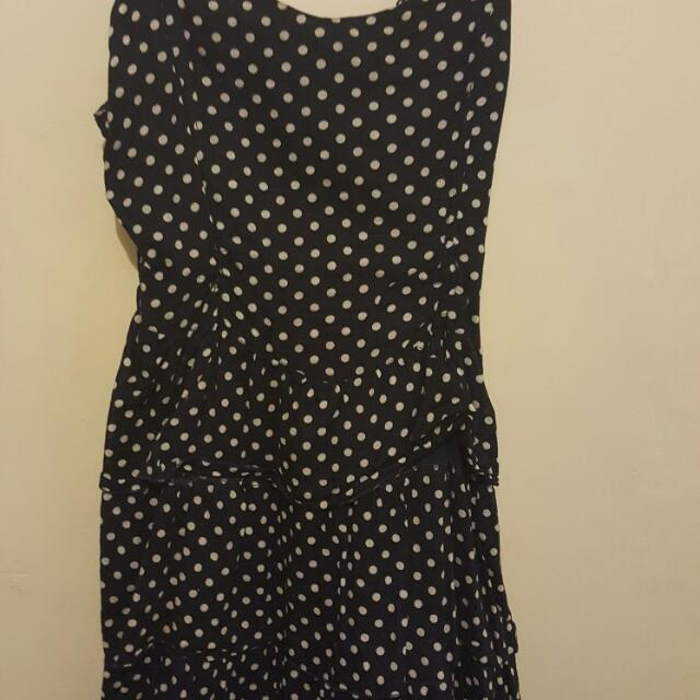 Dark Blue And White Polka-dot Dress Sizs 14