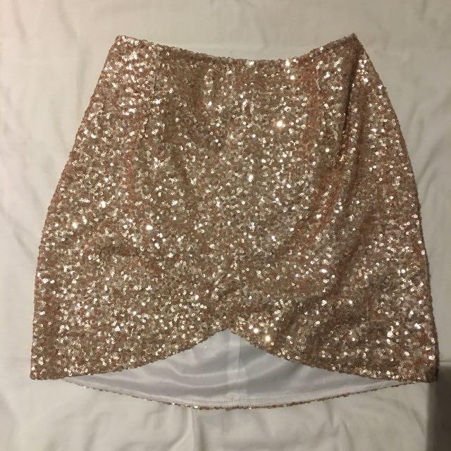 Ezra Gold Sequined Mini Skirt