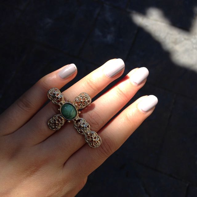 Gold and Green Cross Double Ring