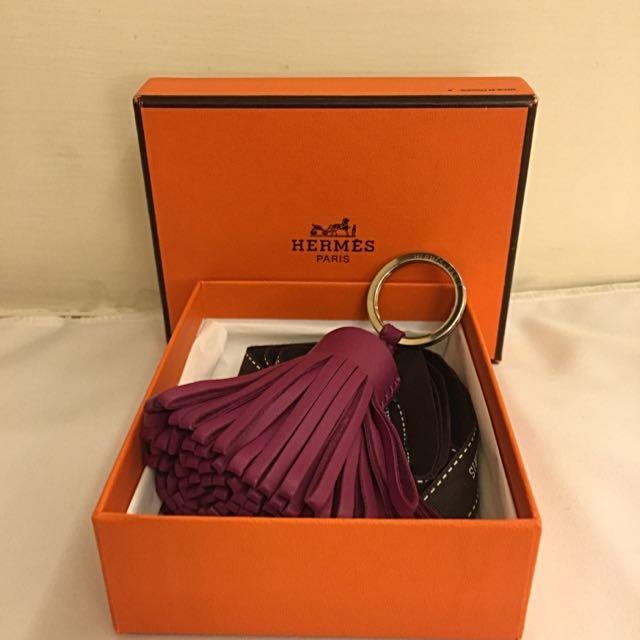 HERME'S 海葵紫(P9)草裙舞皮革鑰匙圈