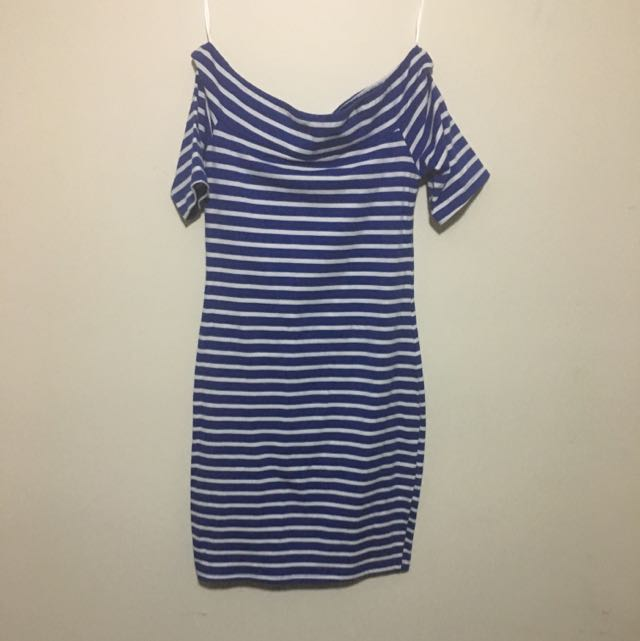 Ice Blue Striped Off Shoulder Dress Size Medium
