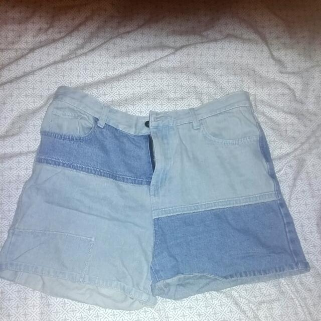 Jean Patch High Waisted Shorts