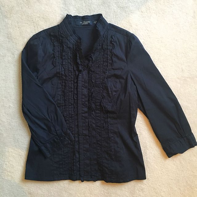 La Chapelle Deep Blue Cotton Blouse