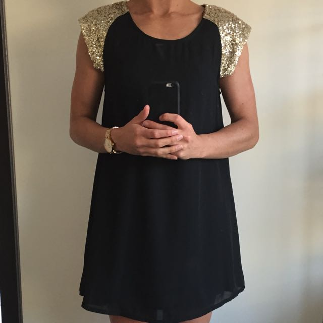 LBD w Gold Sequin detail