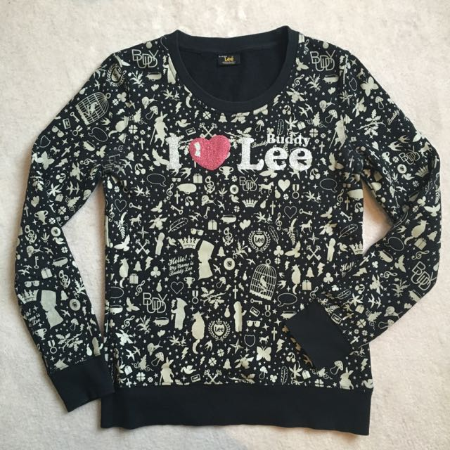 Lee Black Long-sleeved Doodling Top