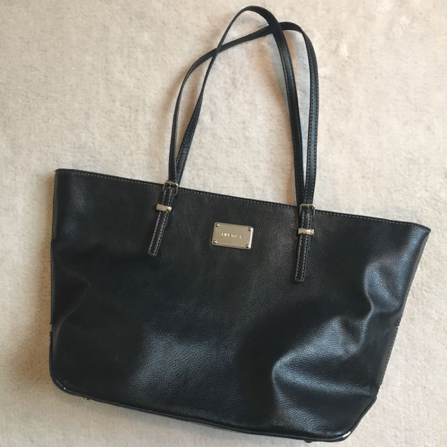 Nine West Black Leather Tote Bag
