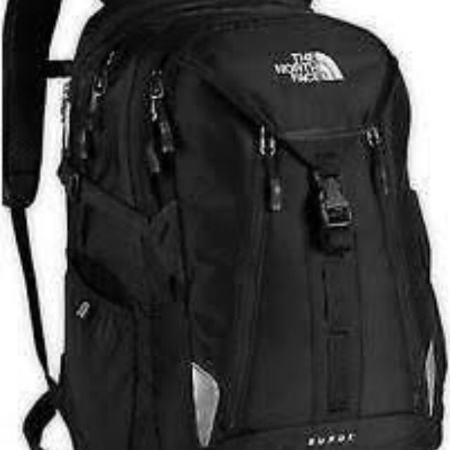 "north face ""surge 2"" black back pack bag"